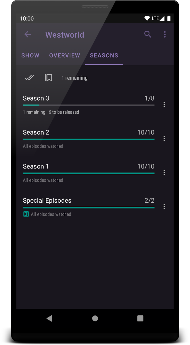 Season list screenshot